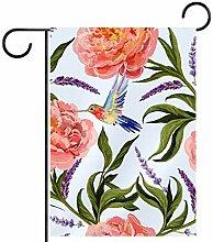 MEITD Fahnenmast mit rosa Blumen, für den Garten,