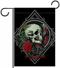 MEITD Fahnenmast mit Totenkopf und Rosen, für