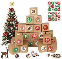 MEIXI 24 Adventskalender zum Befüllen Tüten mit