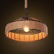 MeiZiWang Kreativ Retro Rustikal Kronleuchter Wohnzimmer Lichter Restaurant Kronleuchter Lampe Pastoral Hanfindustrie