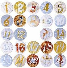 MEJOSER 32 MM Adventskalender Buttons Zahlen 1 bis