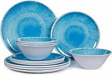 Melamin-Geschirr-Set für 4 – 12-teiliges