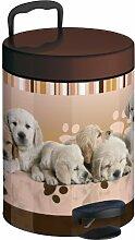 Meliconi Badezimmer-Mülleimer, 5 l, luxuriös (Lithographie-Druck auf Blech mit Metalldeckel und herausnehmbarem Kunststoffeimer), Labrador-Motiv