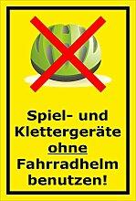 Melis Folienwerkstatt Schild - Ohne Fahrrad-Helm -