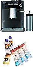 Melitta Caffeo CI Special E970-205, Kaffeevollautomat mit Isolier-Milchbehälter, Zweikammern-Bohnenbehälter, Hochglanz + 6er Pflegeset für Kaffeevollautomaten, Wasserfilter, Flüssigentkalker