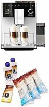 Melitta CI Touch F630-101, Kaffeevollautomat mit Milchbehälter, Flüsterleises Mahlwerk, One Touch Funktion, Silber + 6er Pflegeset für Kaffeevollautomaten, Wasserfilter, Flüssigentkalker