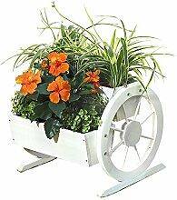 Melko Pflanzkübel mit Wagenräder, aus Holz,