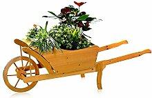 Melko® Pflanzschubkarre / Blumenkarre aus Holz,