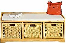 Melko® Sitzbank-Kommode mit Stauraum 3 Körbe,