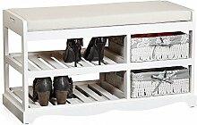 Melko® Sitzbank-Schuhregal mit 2 Körben inkl.