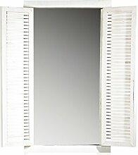 Melko Spiegel mit Fensterläden in Weiß aus Holz