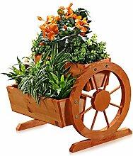 Melko Wagenrad Pflanzkübel aus Holz 44 x 42 x 40