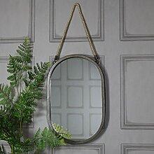 Melody Maison großes Rustikales schwarz oval Wandspiegel
