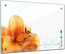 Memoboard 60 x 40 cm, Pflanzen - Lilie - Glasboard