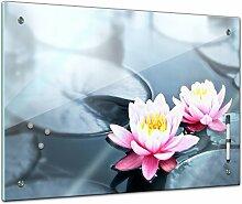 Memoboard 60 x 40 cm, Pflanzen - Lotusblüte - Glasboard Glastafel Magnettafel Memotafel Pinnwand Schreibtafel - Blatt - bunt - Garten - Blume - Pflanzenmotiv - Zierpflanze - Natur - Blumenbild - Seerose - Blüte - rosa - Bild auf Glas - Glasbild - Design