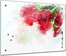 Memoboard 60 x 40 cm, Pflanzen - Rote Rosen -