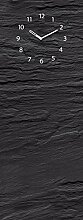 Memoboard mit Uhr, beschriftbar, 30x80cm von Eurographics, Black Slate, schwarze Schieferoptik