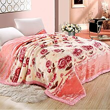 MeMoreCool All Seasons Collection Super Soft Plush Raschel Throw Blanket Double Thick Warm Winter Blanket Luxury Pink Roses Design Single/Double Blanket Cover 71 by 87 Inch by MeMoreCool