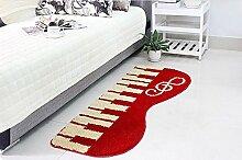 memorecool Bett für Bereich Teppiche Musik Piano Teppich Cartoon Teppiche für Home Wohnzimmer, Weiß & Schwarz Teppich, modernes Bereich Teppich, Textil, rot, 50cm by 120cm
