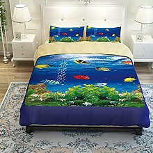 MeMoreCool Bettwäsche-Set, geheimnisvolle Unterwasserwelt, 3D Fisch Design, Bettbezug-Set für Kinder/Jugendliche, Bettlaken/Spannbettlaken, 3-teilig, baumwolle, 2 and Flat sheet, Queen