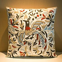 MeMoreCool Bohemia Exotic Style Pillow Sham Exquisite Stereoscopic Embroidered Cotton Throw Pillow Cover Indian Decor Sofa Cushion Cover Pillow Case 18x18 by MeMoreCool