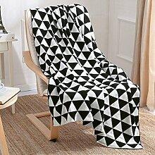 memorecool Decke, Strick, Überwurf, Decke, doppellagig, Geometrisches Design, Decke, ideal für Kinder, 129,5x 170,2cm schwarz