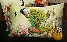 memorecool eckig Design Hohe Qualität Deko Sofa Kissen Samt weich Tasche Blume Pfau Design auf beiden Seiten 45cm by 65cm bun