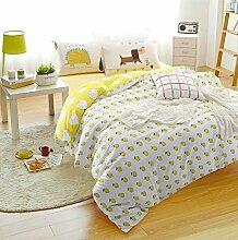 memorecool Haustierhaus ab Version in klassischem Design Bettbezug Set, Kinder Betten-set mit passenden Cartoon Igel/Hund Kissen Bezug, Baumwolle bedruckt gelb & Weiß Bettwäsche-Set, baumwolle, Fitted sheet, Twin