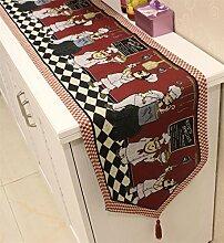memorecool Haustierhaus American Rustikaler Stil Tischläufer Jacquard Baumwolle Tischläufer verspielten Chef Design Bettläufer Kaffee Tischläufer mit Tischsets Table Runner