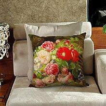 memorecool Haustierhaus Blumen Kissen Bezug hochwertige samtig–Ölgemälde Stil auf beiden Seiten schmücken Sofa No Filler 40,6x 40,6cm, flower7, 20x20inch