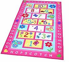memorecool Haustierhaus bunt hell rosa Playtime Mädchen Hüppekästchen Kids/Kinder Teppich Schmetterling & Blumen Spielteppich 100x 150cm