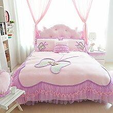 memorecool Haustierhaus Exquisite Upgrade Design Prinzessin Weich und warm Bettwäsche Set, wunderschöner Schmetterling und Spitze Bettbezug Set, perfekt Princess Dream Bettwäsche-Set, baumwolle, Pink, Twin