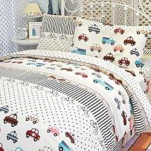 memorecool Haustierhaus Home Textile Cartoon Cars Design Umweltfreundliche reaktiver Druck 100% Baumwolle 3Stück Bettwäsche Set Fashion Persönlichkeit Bettwäsche für Jungen und Mädchen Weiche Bett Blatt Twin Größe, 100 % Baumwolle, Car 2, Twin