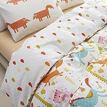 memorecool Haustierhaus Kindheitserinnerungen 100% Baumwolle Jungen und Mädchen Bettwäsche Sets, Cartoon Giraffe/Pferd/Fox/Cat Bettbezug Set, ab Version in klassischem Design Bettwäsche, baumwolle, Fitted sheet, Volle Größe