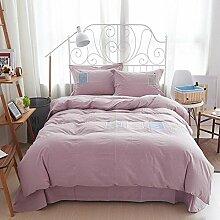 memorecool Haustierhaus Pink Stickerei Fresh gewaschen Baumwolle Bettwäsche-Set 4-teilig reine Baumwolle Heimtextilien Full Size Bettbezug und Bettlaken, baumwolle, rosa 1, Volle Größe