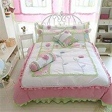memorecool Haustierhaus Rosa Prinzessin Stil. 3D Flower Bettwäsche-Set Sweet Design Girly Bettwäsche 100% Baumwolle Bett Rock Mädchen Bettwäsche-Set Twin Größe, baumwolle, 4Pcs, Queen