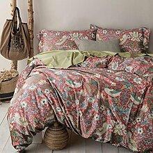 memorecool Haustierhaus rot ländlichen Stil 60er Fadenzahl Satin reine Ägyptische Baumwolle Bettset 4-teilig Heimtextilien Bettbezug und Bettlaken voller Größe, baumwolle, rot, Volle Größe