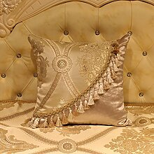memorecool Haustierhaus Royal Jacquard Sofa Kissenbezug Zarte handgefertigt Fransen Home/Auto/Hotel Decor seidig Soft Hand Gefühl No Filler 30,5x 45,7cm Golden, golden1, 18 inch by 18 inch