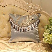 memorecool Haustierhaus Royal Jacquard Sofa Kissenbezug Zarte handgefertigt Fransen Home/Auto/Hotel Decor seidig Soft Hand Gefühl No Filler 45,7x 45,7cm Golden, silvery2, 20 inch by 20 inch