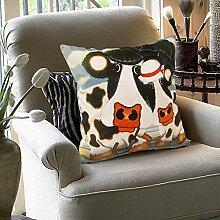 memorecool Haustierhaus Weich samtig Kissen Bezug niedlich Dairy Cow Design auf beiden Seiten Sofa Kissenbezug Werfen Kissen Sham Home Dekorative Kissenbezug–verwendet für Sofa/Stuhl/Bett, 100 % Baumwolle, 60cm by 60cm