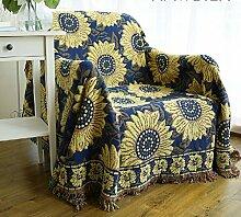 memorecool rutschfest hochwertige Qualität von Sonnenblume A Doppel Futter aus Baumwolle Herbst und Winter dicker Baumwolle Sofa Rückenlehne Handtuch Decke von 70*210cm