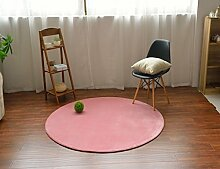 MeMoreCool Teppich, rund, modern, einfaches Design, Korallen-Samt, für Sofa, Wohnzimmer, Fußmatte, Schlafzimmer, Matte, 99,1cm, Polyester, rose, 99 cm (39 Zoll)