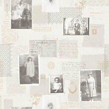 Memories Nostalgie Retro Vlies Tapeten Postkarten creme beige G56131