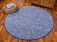 Memory Schlingen Teppich Blau Meliert Rund in 7