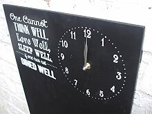 Memotafel, Kreidetafel mit Uhr, Memoboard, Aufdruck , 50 x 34 cm