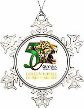 memy Isole (Ellé) Ideen zur Dekoration für Weihnachten Bäume Guyana 50. Unabhängigkeit zum Aufhängen Schneeflocke ornaments