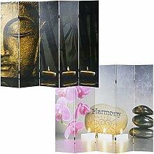 Mendler Foto-Paravent Buddha, Paravent Raumteiler