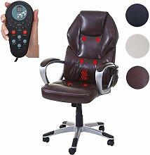 Mendler Massage-Bürostuhl HWC-A69, Drehstuhl Chefsessel, Heizfunktion Massagefunktion Kunstleder ~ Bordeaux