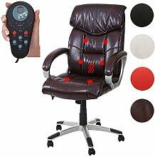 Mendler Massage-Bürostuhl HWC-A71, Drehstuhl Chefsessel, Heizfunktion Massagefunktion Kunstleder ~ Bordeaux
