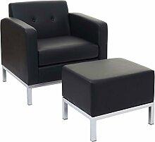 Mendler Sessel mit Ottomane HWC-C19, Modular-Sofa mit Armlehnen, erweiterbar Kunstleder ~ Schwarz
